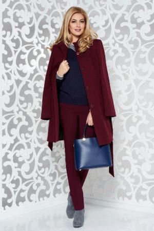 Palton visiniu casual office cu maneca lunga si guler tunica realizat din lana cu croiala feminina in clos prevazut cu cordon in talie