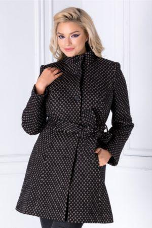 Pardesiu negru elegant de dama cu insertii bej foarte stilat si practic ce are talia accentuata cu un cordon Hope