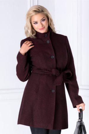 Pardesiu negru elegant de dama cu insertii bordo foarte stilat si practic ce are talia accentuata cu un cordon Hope