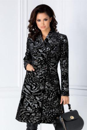 Pardesiu de lux negru in stil military marca Leonard Collection intr-o textura inedita cu motive florale gri