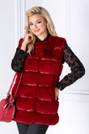 Vesta rosie eleganta din blanita calduroasa cu insertii discrete de piele ecologica si buzunare laterale pentru un confort sporit Tere