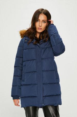 Geaca scurta de iarna Answear bleumarin cu gluga cu blanita prevazuta cu fermoar si buzunare laterale