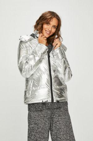Geaca stilata argintie cu gluga de primavara Answear pentru femei realizata din material lucios