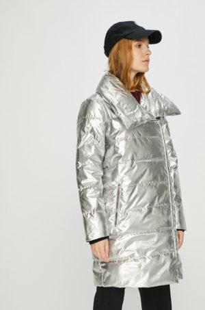 Geaca lunga argintie stralucitoare cu fermoar marca Armani Exchange matlasata pentru primavara si toamna