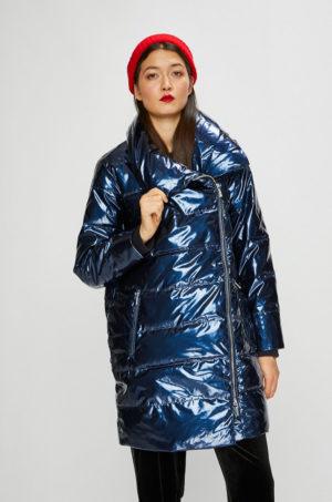 Geaca lunga albastra stralucitoare cu fermoar marca Armani Exchange matlasata pentru primavara si toamna