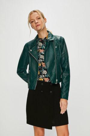 Geaca scurta verde tip biker marca Jacqueline de Yong de primavara din piele ecologica cu inchidere cu fermoar