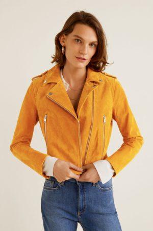 Geaca galben mustar din piele naturala Mango foarte stilata si eleganta prevazuta cu fermoar si buzunare exterioare