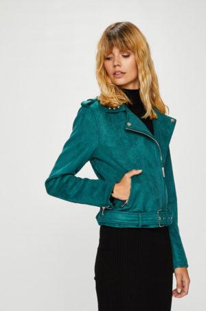 Geaca verde turcoaz Morgan pentru femei accesorizata cu detalii decorative ideala pentru sezonul de tranzitie