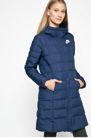Geaca Nike Sportswear bleumarin de iarna cu fermoar si umplutura de puf accesorizata cu gluga si guler ridicat