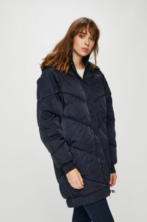 Geaca lunga bleumarin oversize Noisy May pentru iarna imblanita pe interior si accesorizata cu buzunare supradimensionate