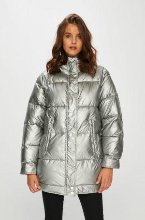 Geaca matlasata argintie lucioasa Pepe Jeans foarte stilata si moderna prevazuta cu gluga si buzunare largi