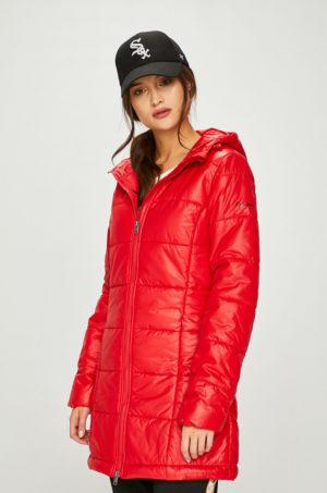 Geaca matlasata rosie lucioasa Pepe Jeans foarte stilata si moderna prevazuta cu gluga si buzunare largi
