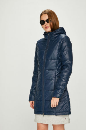 Geaca matlasata bleumarin lucioasa Pepe Jeans foarte stilata si moderna prevazuta cu gluga si buzunare largi
