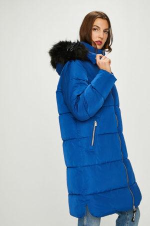 Geaca albastru electric oversize Pepe Jeans de iarna lunga cu gluga detasabila si incheiere cu fermoar