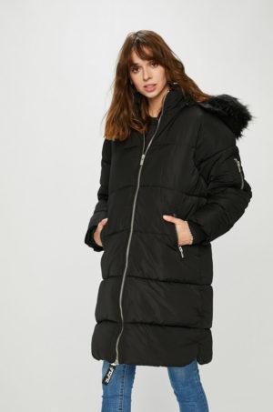 Geaca neagra oversize Pepe Jeans de iarna lunga cu gluga detasabila si incheiere cu fermoar