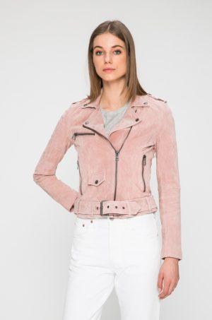 Geaca roz pudra scurta de primavara marca Review din piele naturala prevazuta cu buzunare