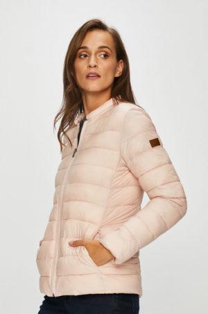 Geaca ieftina scurta roz pudrat Roxy de primavara cu captuseala din nailon ideala pentru sezonul ploios