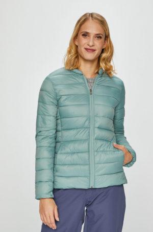 Geaca ieftina scurta bleu Roxy de primavara cu captuseala din poliester ideala pentru sezonul ploios