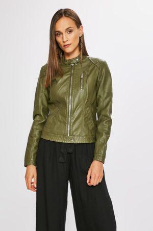 Geaca verde scurta eleganta Vero Moda de primavara realizata din piele ecologica cu cusaturi decorative