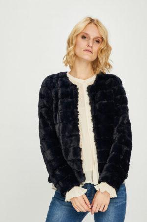 Geaca bleumarin scurta Vero Moda realizata din imitatie de blana potrivita pentru ocazii speciale